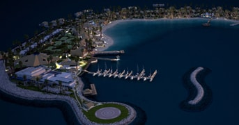 Aerial View by Night at Banana Island Resort Doha