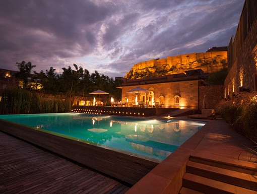 View of the Mehrangarh Fort from the pool area of RAAS Jodphur