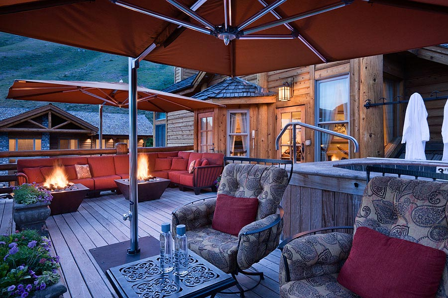 Lounge around the fire pit at Rusty Parrot Lodge And Spa, Jackson, WY