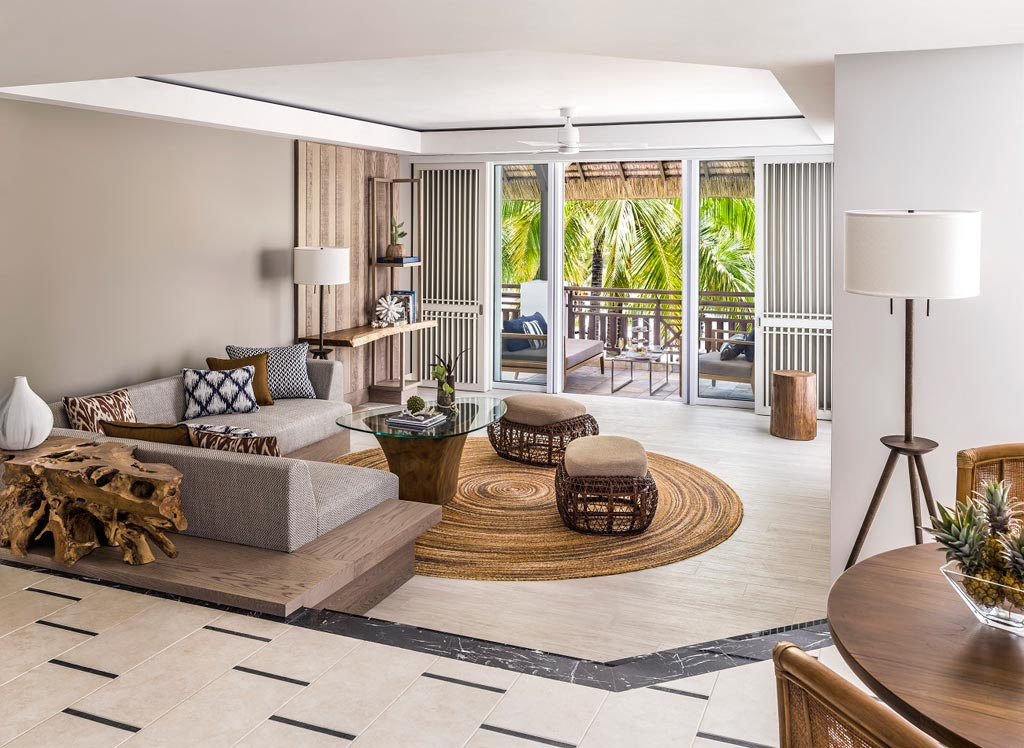 Frangipani Deluxe Suite Living at Shangri-La's Le Touessrok Resort, Trou d'Eau Douce, Mauritius