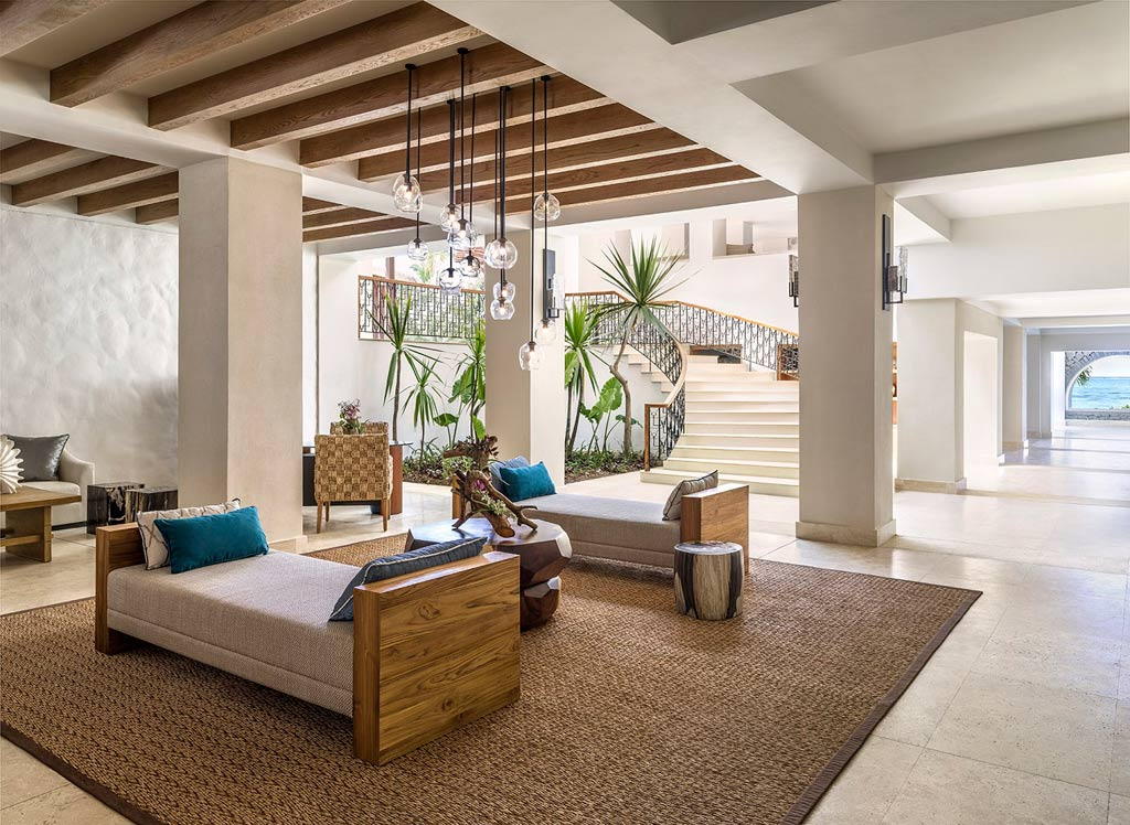 Lobby of Shangri-La's Le Touessrok Resort, Trou d'Eau Douce, Mauritius