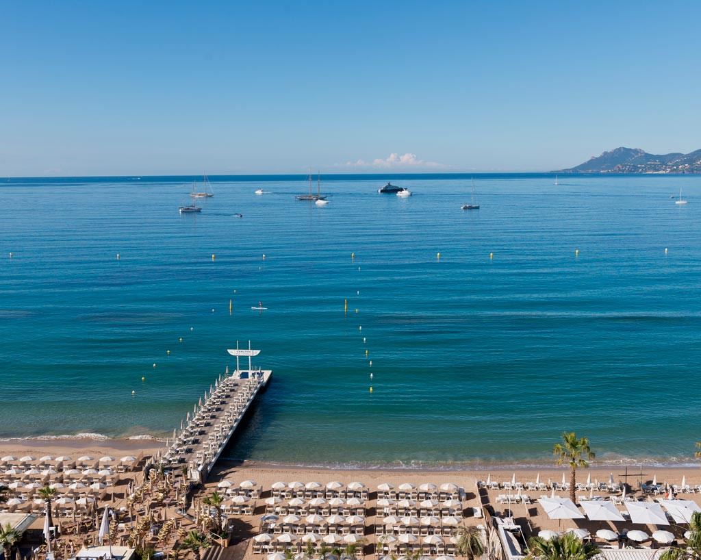 Carlton Beach and Mediterranean Sea at InterContinental Carlton Cannes, Cannes, France