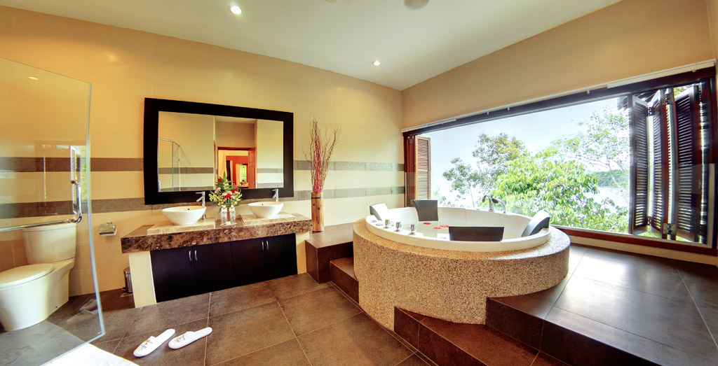 Three Bedroom Deluxe Suite Bath at Bunga Raya Island Resort and Spa, Kota Kinabalu, Malaysia