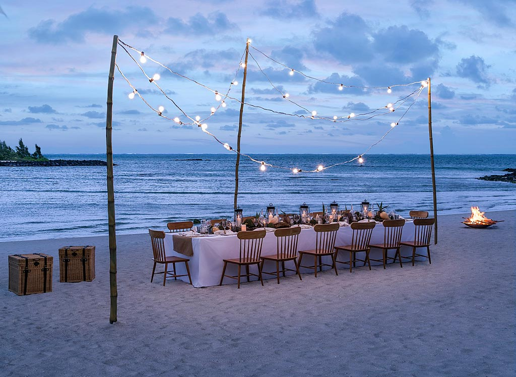 Private Beach Dining at Shangri-La's Le Touessrok Resort, Trou d'Eau Douce, Mauritius