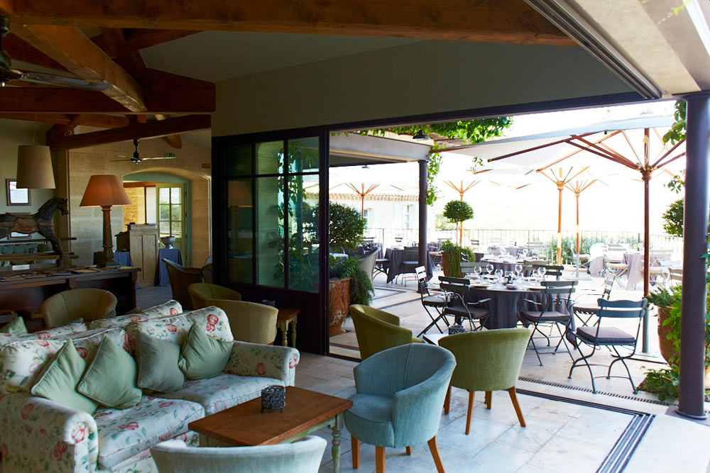 Lounge and Outdoor Dining at Hotel Crillon le Brave