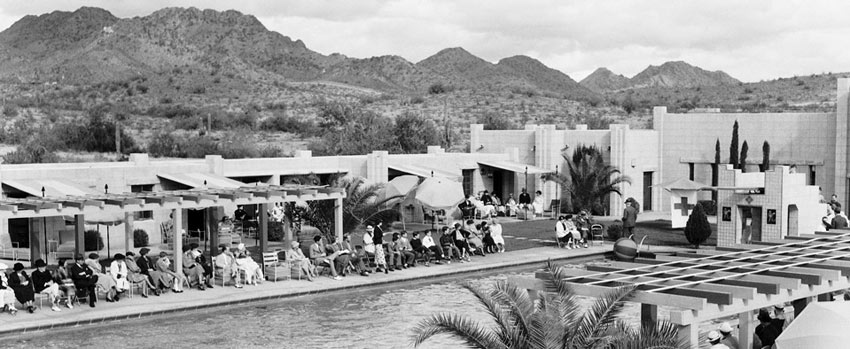"Historical photo of the Arizona Biltmore Hotel in Phoenix's Catalina Pool - ""The Jewel of the Desert"" since 1929."