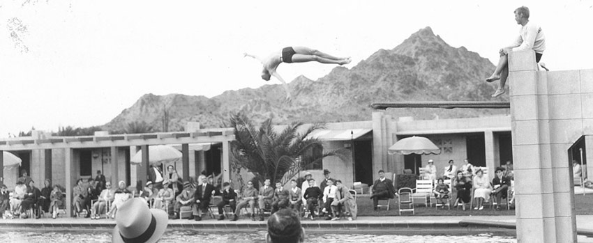 Archive photo from the 1930's - a pool diver at the Arizona Biltmore Hotel.