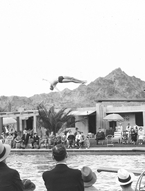 Archive photo from the 1930's of a diver at the Arizona Biltmore Hotel pool.