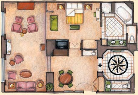 Piazza Suite Floorplan at The Venetian Las Vegas