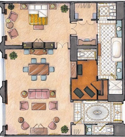 Renaissance Suite Floorplan at The Venetian Las Vegas