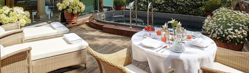 Concealedprivate terrace with plunge pool in the 970 square foot Palladio Signature Suite at the Belmond Cipriani Hotel in VeniceItaly