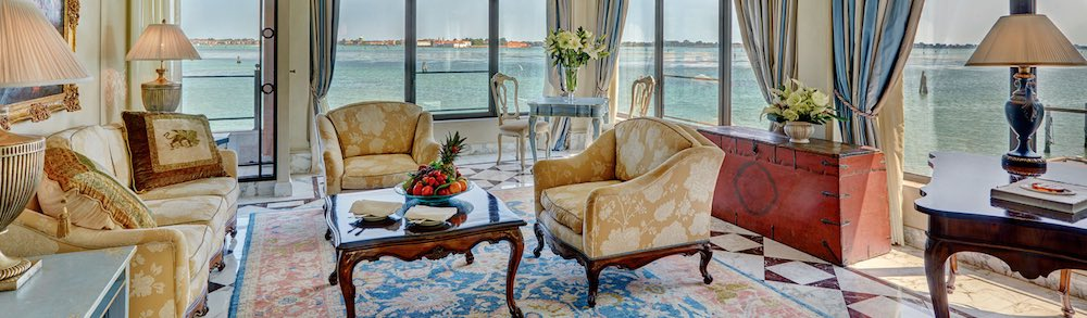 Living Room of the 970 square foot Palladio Signature Suite at the Belmond Cipriani Hotel in VeniceItaly