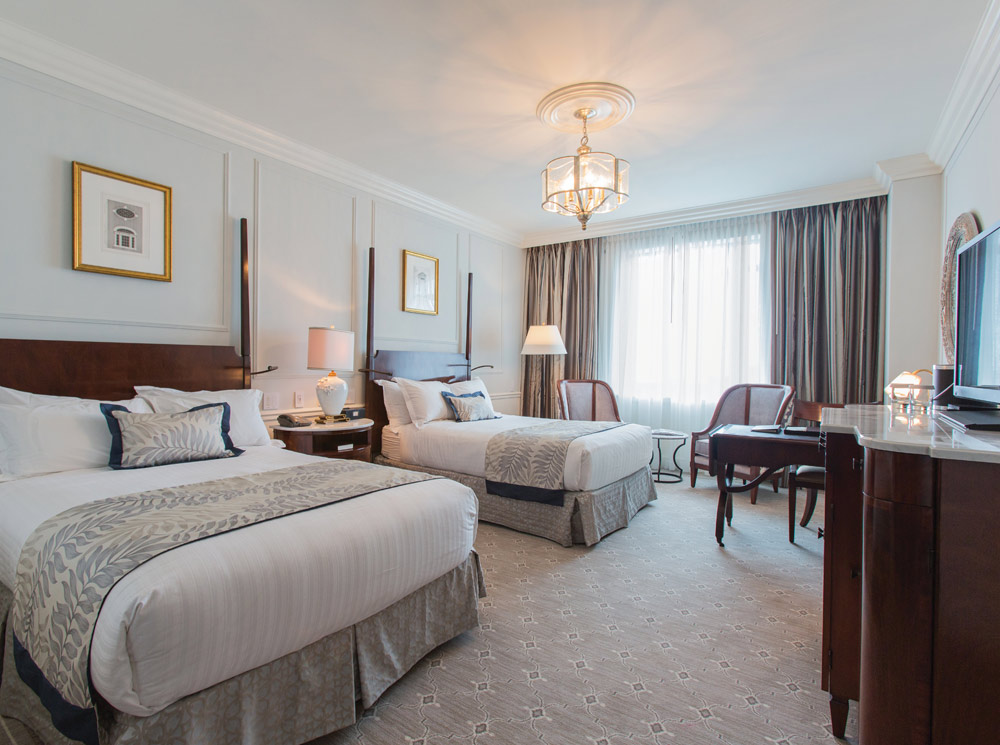 Newly renovated double guestroom at Belmond Charleston Place, Charleston SC