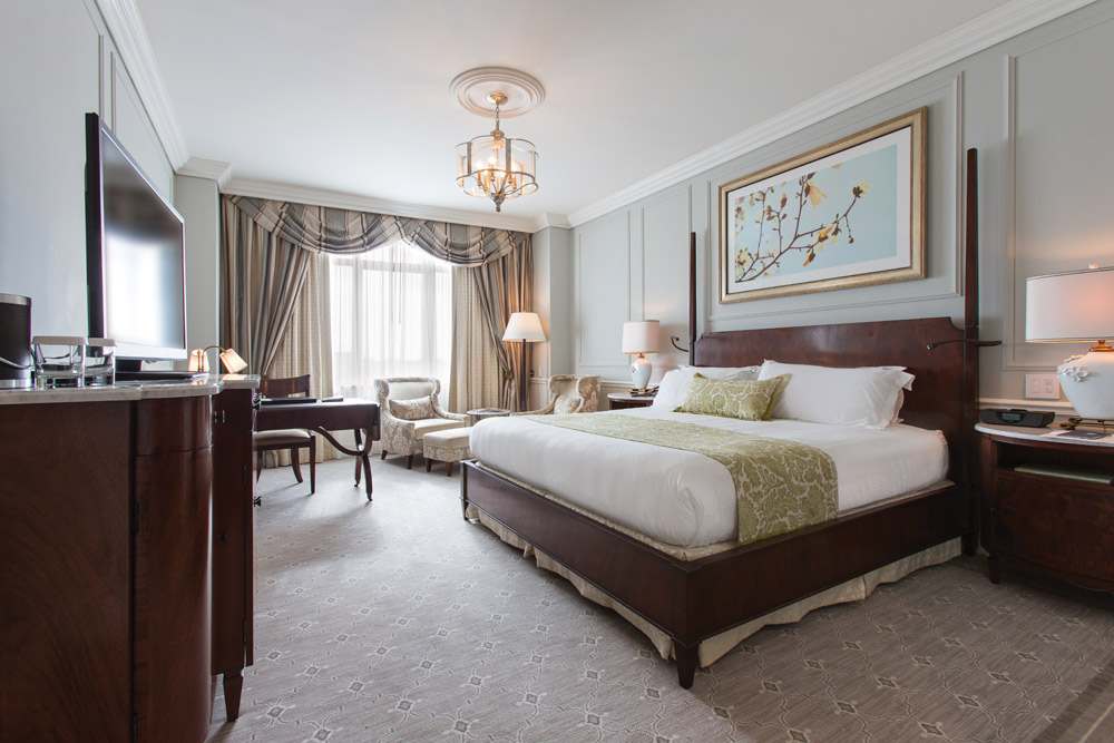 Newly renovated guestroom at Belmond Charleston Place, Charleston SC