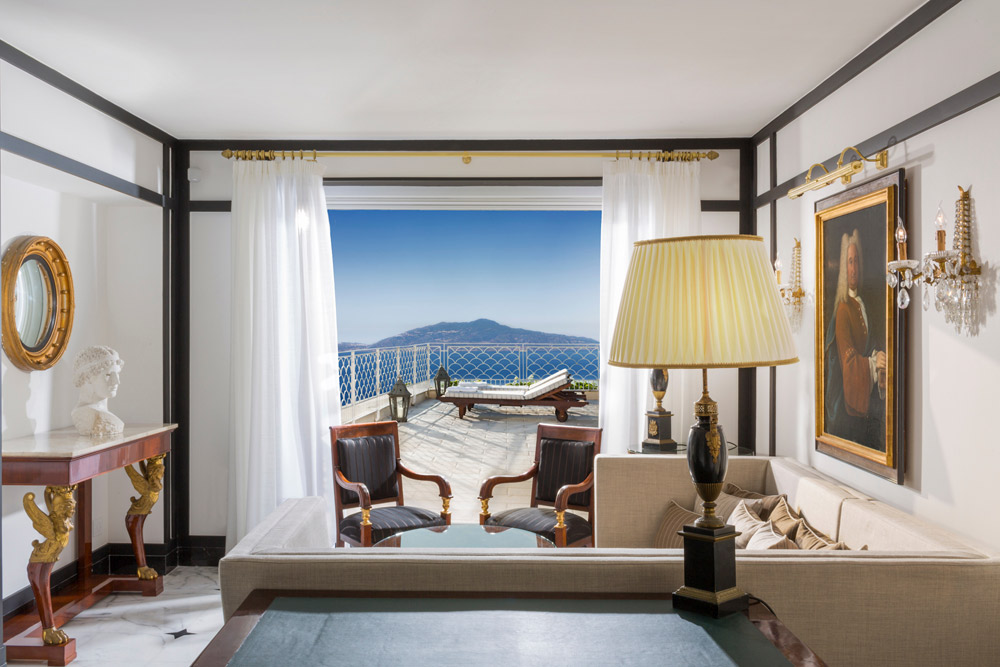 Penthouse Acropolis Suite lounge area at the Capri Palace Hotel