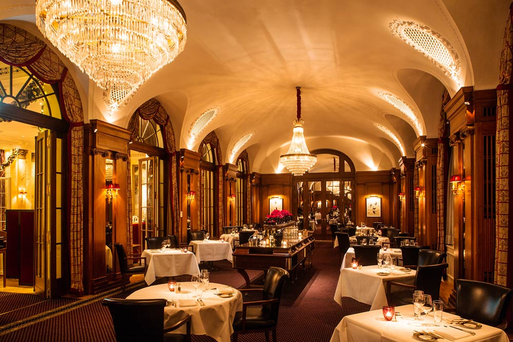 Dining at Bellevue Palace, Berne, Switzerland
