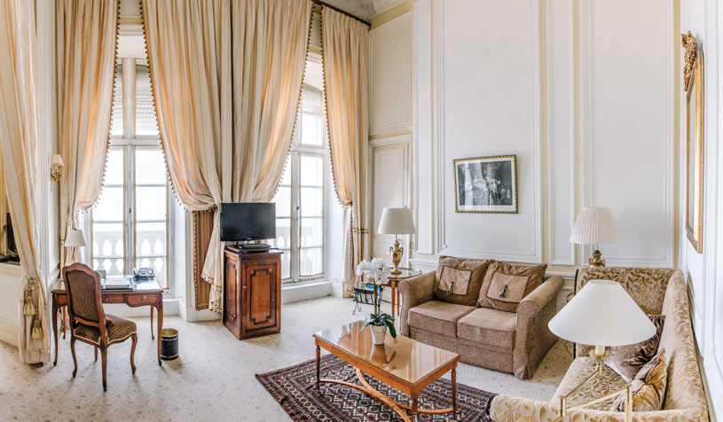 Living Area of Suite at Hotel Du Palais