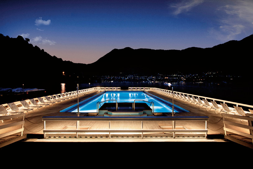 Floating Swimming Pool by night at The Villa dEste Lake Como