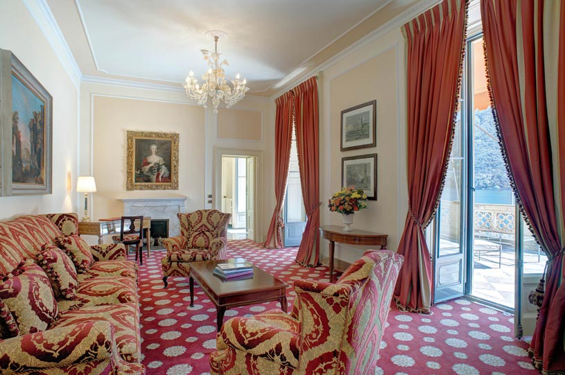 Cardinal Suite Living Room at The Villa deste Lake Como