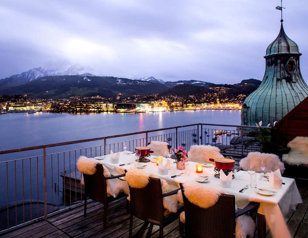 Terrace Dining at Palace Luzern, Switzerland