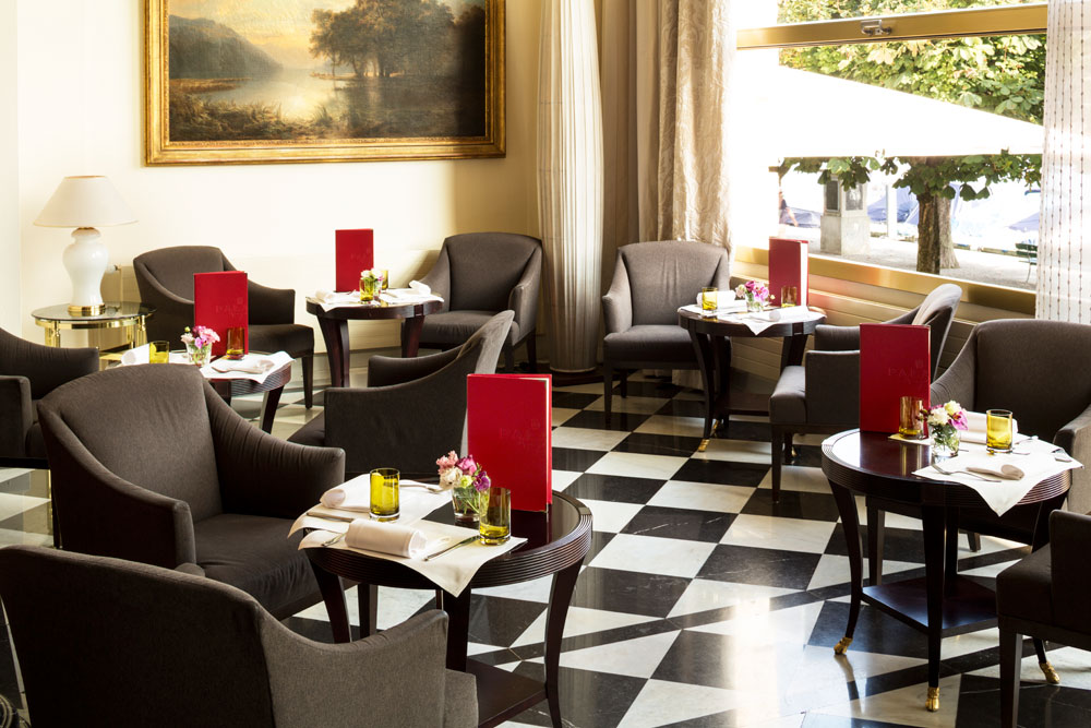Lobby Dining at Palace Luzern, Switzerland