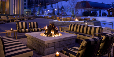 Outdoor fireplace at the Park Hyatt Beaver Creek Resort and Spa