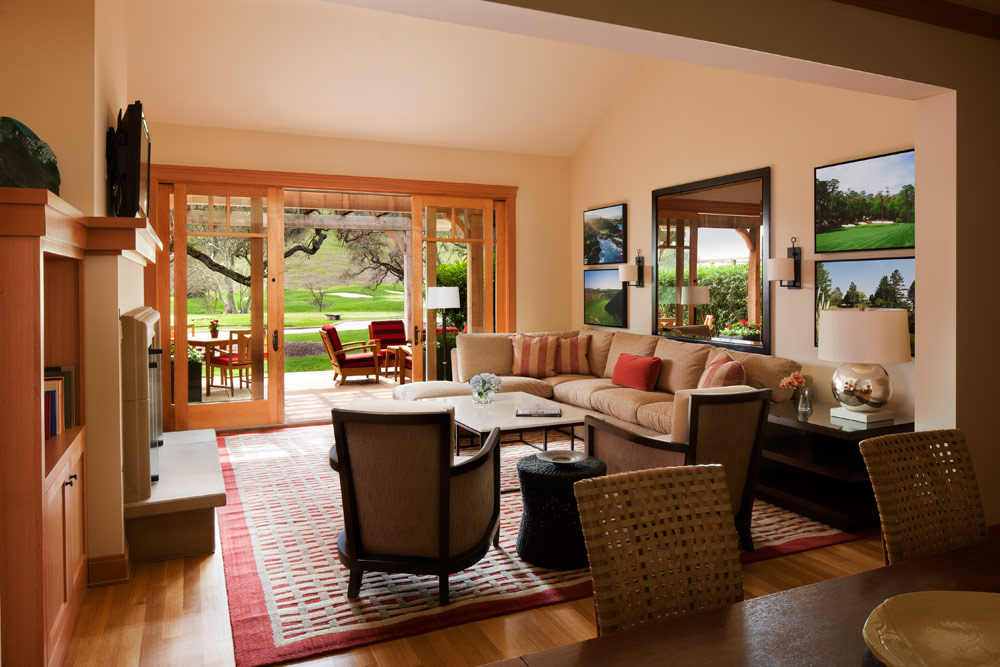 Fairway Home living area at CordeValle, a Rosewood Resort in San Martin, CA, United States