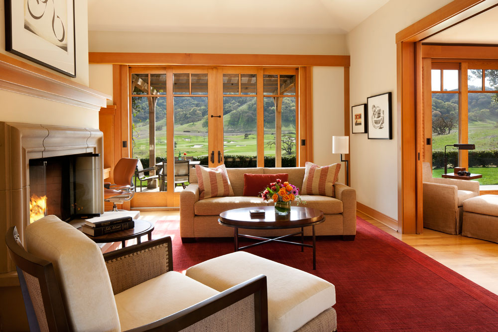Villa living area at CordeValle, a Rosewood Resort in San Martin, CA, United States