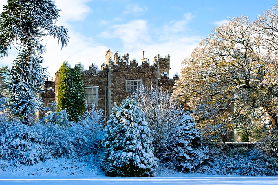 Waterford Castle in the snow.