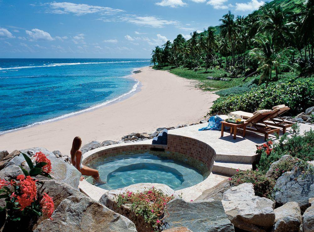 Spa Whirlpool on Big Reef Bay and Beach at Peter Island Resort & Spa
