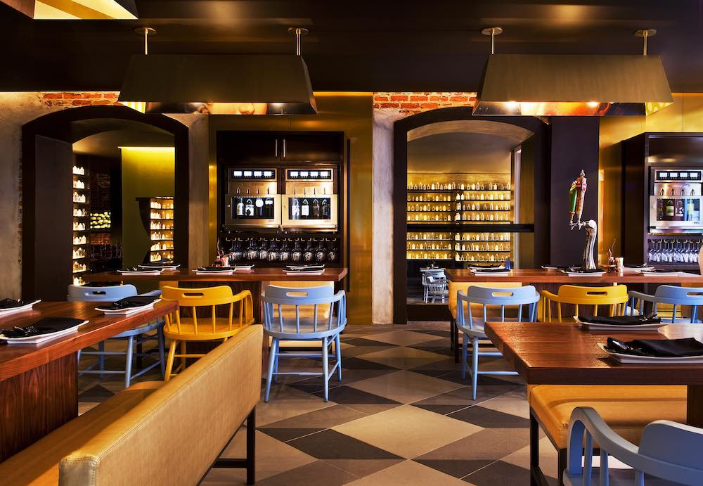 SoBou, featuring Louisiana Street Food Inspired Small Plates, has a Beer Garden with beer taps in the tables and self-serve wine machines at the W New Orleans French Quarter.
