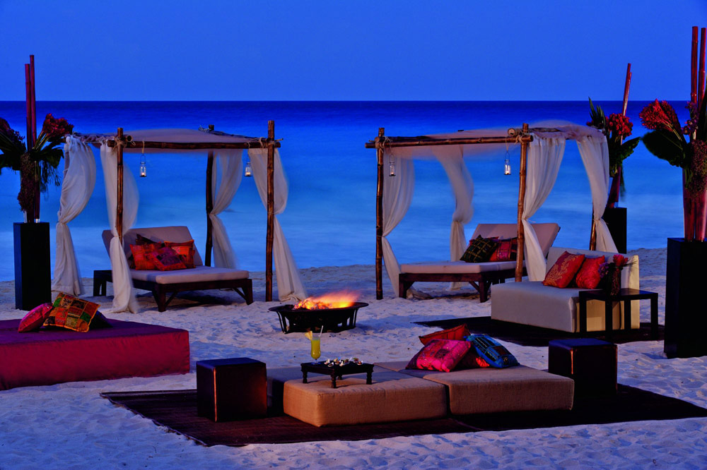 Beach firepit and lounge at Ritz Carlton CancunMexico