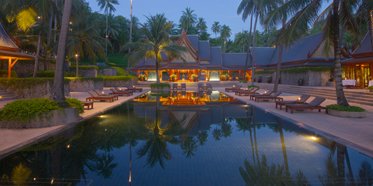 Swimming pool and entrance at Amanpuri, Thailand
