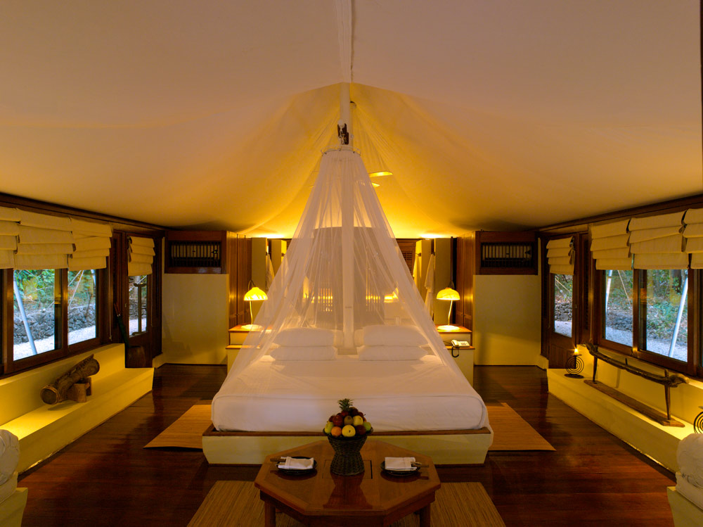 Tent interior at Amanwana, Indonesia