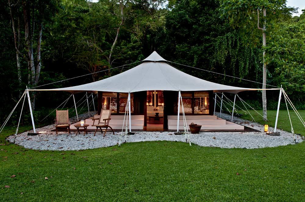 Ocean tent exterior, Amanwana, Indonesia