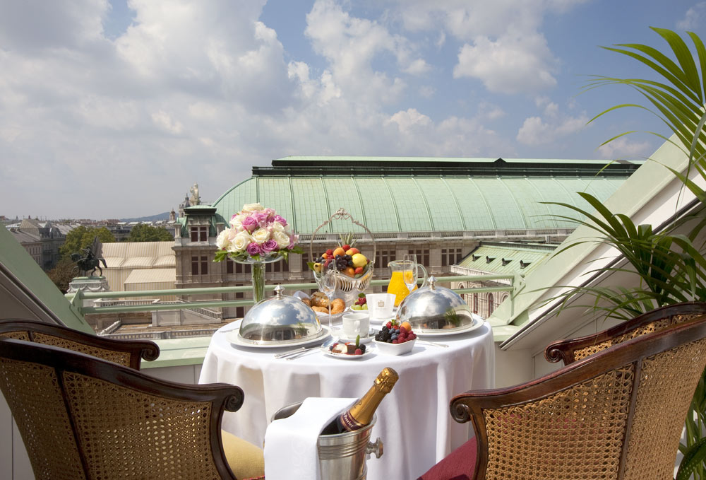 Terrace Dining at Hotel Bristol Vienna, Austria