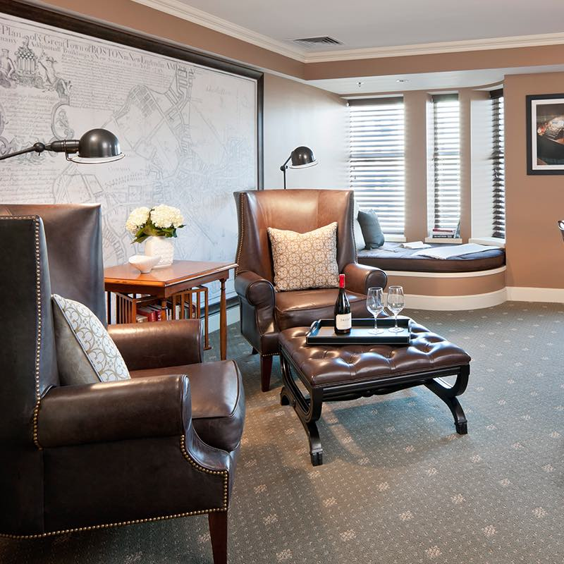 Bibliophiles and bookworms alike will love the classic library look and feel of the Reading Suite at the Hotel Commonwealth in Boston.