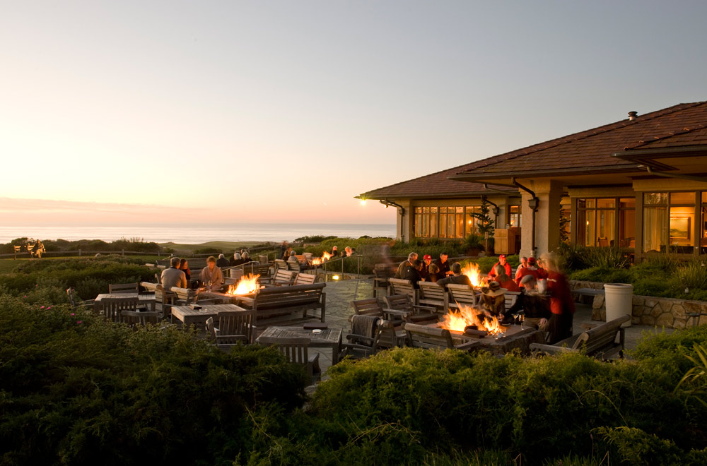 Patio fire pits at The Inn at Spanish Bay, Pebble Beach, CA
