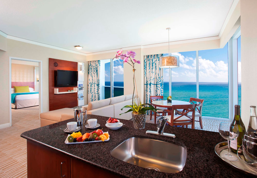 One Bed Suite Kitchen and Living Area at Trump International Beach Resort in Sunny Isles Beach, FL