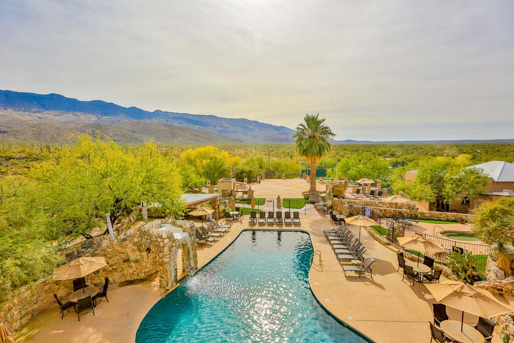 Outdoor Pool Overlooking Views at Tanque Verde RanchAZ