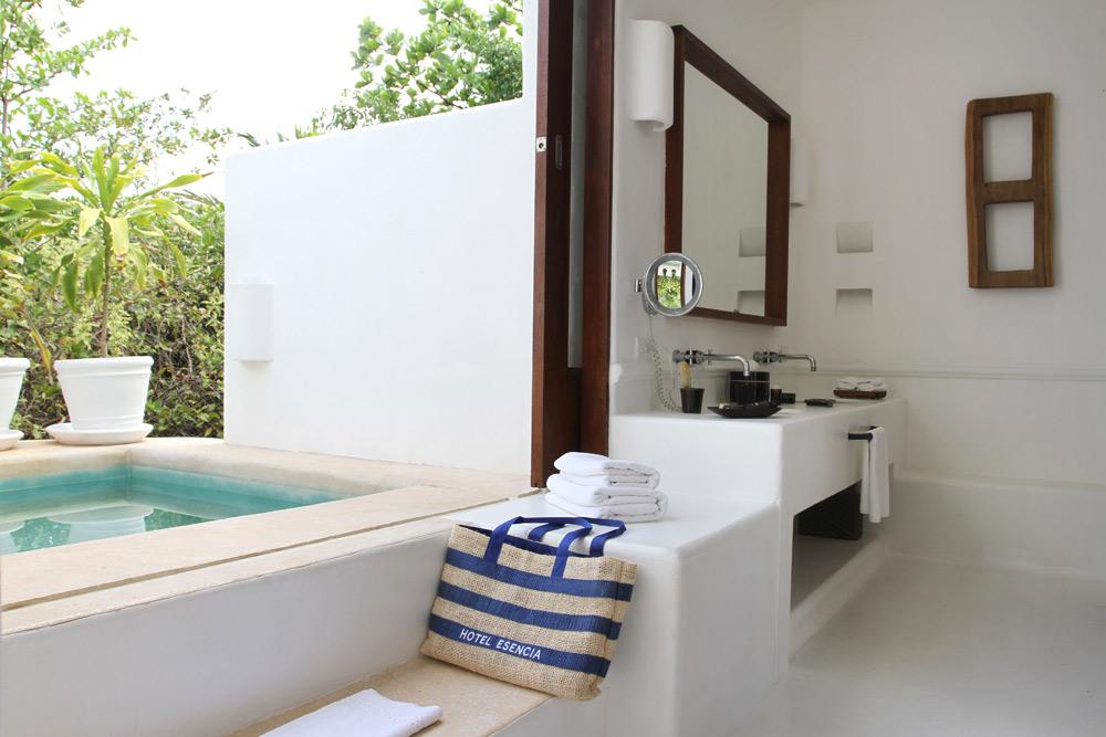 Garden Plunge Pool Suite Bath at Esencia, Playa del Carmen, Quinta Roo, Mexico