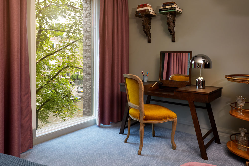 Writing desk in guest room at Hotel Pulitzer, Amsterdam, North-Holland, Netherlands