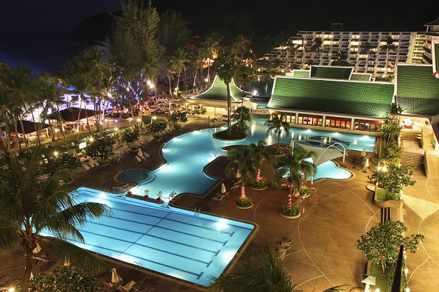 Le Meridien Phuket Beach Resort Free Form Pool at Night