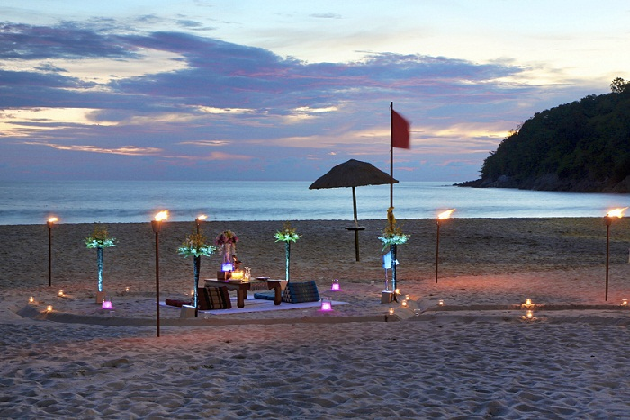 Le Meridien Phuket Beach Resort Dinner Set-up on the Beach