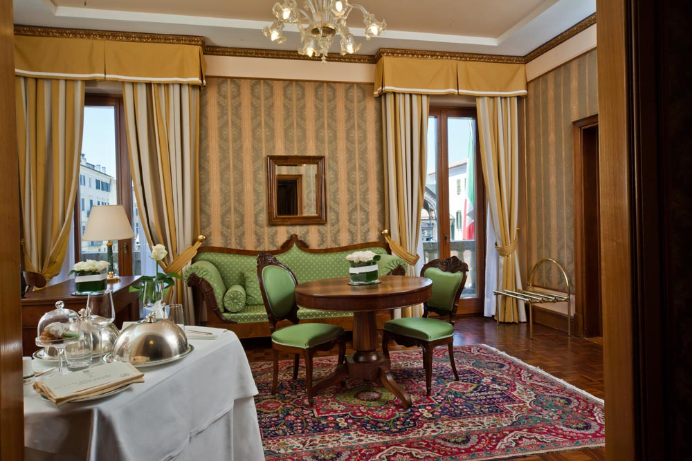 Suite Living Room at Hotel Due Torri