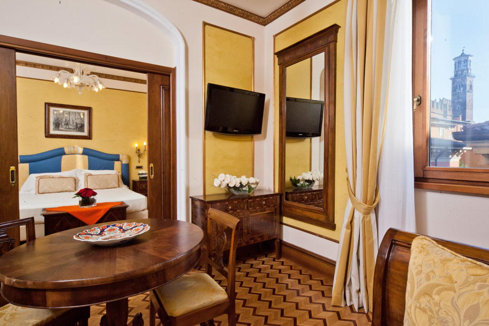 Guest Room with Separate Sitting Area at Hotel Due Torri