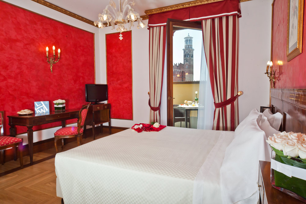 Red Guest Room at Hotel Due Torri