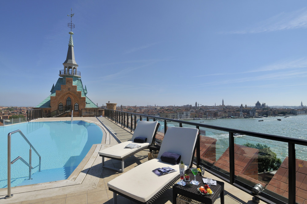 Rooftop Pool at Hilton Molino Stucky Venice, Italy