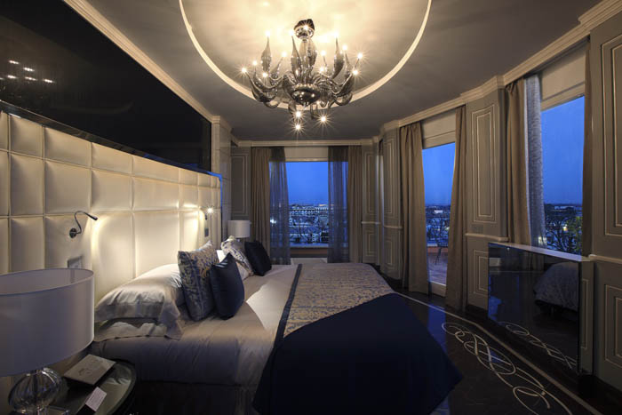 Regina Hotel Baglioni Roman Penthouse Master Bedroom at night