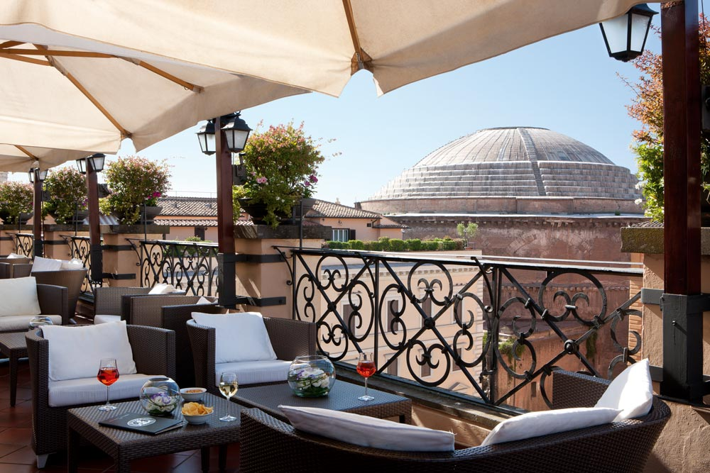 Roof Garden Bar at Grand Hotel de la Minerve, Rome Italy